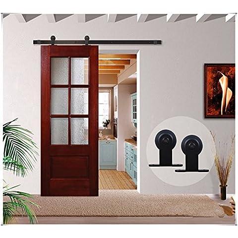 CCJH Country Classic Steel T Style Interior Sliding Barn Wood Door Hardware Kit Black (6FT/72'', Single