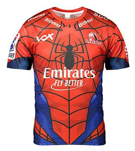 Lions, Maglia da Rugby, Hero Edition, Ricamato Nuovo Tessuto, Abbigliamento Sportivo Swag (Rosso, XL)
