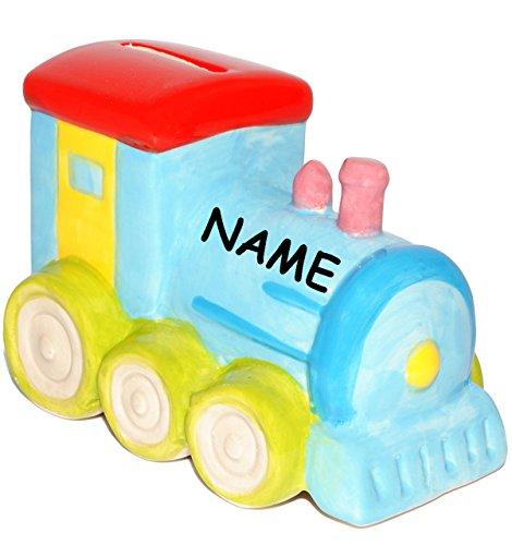 alles-meine.de GmbH Spardose -  Bunte Eisenbahn / Lok  - incl. Name - aus Porzellan / Keramik - Stabile Sparbüchse - Sparschwein - lustig witzig - Urlaubskasse - Urlaub - Reise..