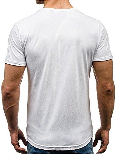 BOLF Herren T-Shirt Tee Kurzarm Rundhals Slim Fit Aufdruck Casual 3C3 Motiv Weiß