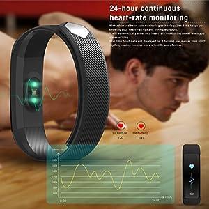 Pulsera Actividad MiuVei Pulsera Inteligente con 3 Correas Pulsómetro Monitor de Ritmo Cardíaco y Sueño, Podómetro, Pulsera Impermeable Bluetooth Compatible con IOS y Android