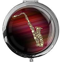 """metALUm - Extragroße Pillendose in runder Form""""Saxophon"""" preisvergleich bei billige-tabletten.eu"""