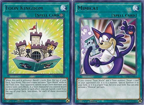 Yugioh Yu-Gi-Oh! Duel Monster, Maximillion Pegasus's Legendary Toon/  Cartoon Cards - Toon Kingdom - LED2-EN052 - Rare + Mimicat - LED2-EN051 -  Rare