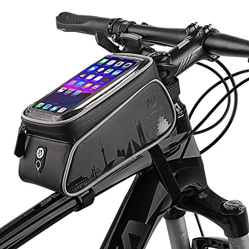 Bike Frame Bag, Cycling Frame Pannier Mobile Phone Holde, Waterproof Resistant Cycling Front Tube Frame Pannier Mountain MTB City Road Bicycle Crossbar Bag Pouch Holder für Smartphone,Black -