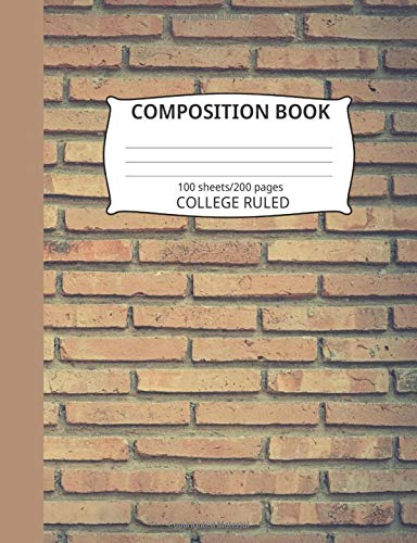 Composition Book: Brick Wall Pattern 1: Blank College Ruled Notebook - Wall Blue Rack Hat