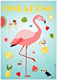 12 Einladungskarten Flamingo | Einladungen Kindergeburtstag Geburtstag Party/Poolparty Schwimmbad Gartenparty Cocktailparty Beachparty | Hawaii Sommer Gartenfest | Trend Art Deco Stil | Karten Set