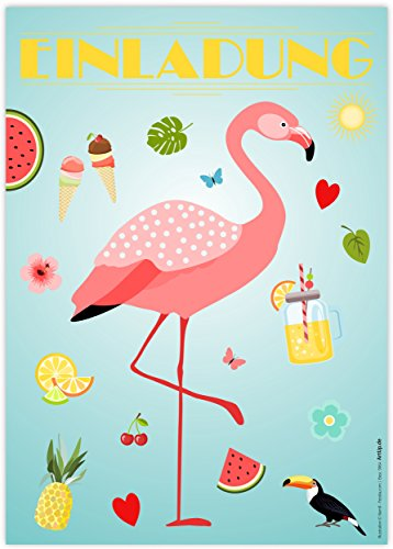 (12 Einladungskarten Flamingo | Einladungen Kindergeburtstag Geburtstag Party/Poolparty Schwimmbad Gartenparty Cocktailparty Beachparty | Hawaii Sommer Gartenfest | Trend Art Deco Stil | Karten Set)