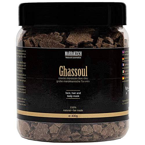 Ghassoul marokkanische original Wascherde Tonerde Lavaerde Lava Clay für Haar Shampoo Körperpflege Gesichtsmaske Peeling Sauna Naturkosmetik vegan, ohne Tenside   grob 400g -