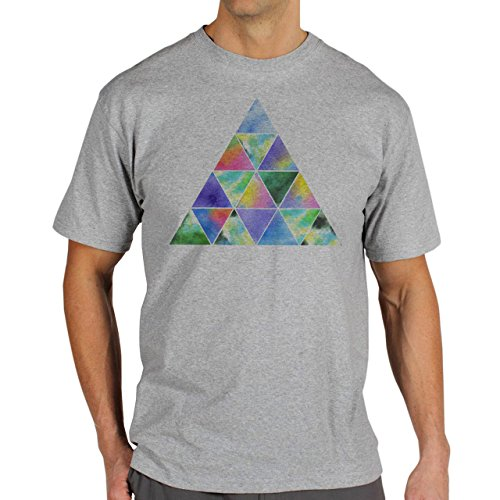 Illuminati Triangle Art Majestic Many Colourful Triangles Background Herren T-Shirt Grau