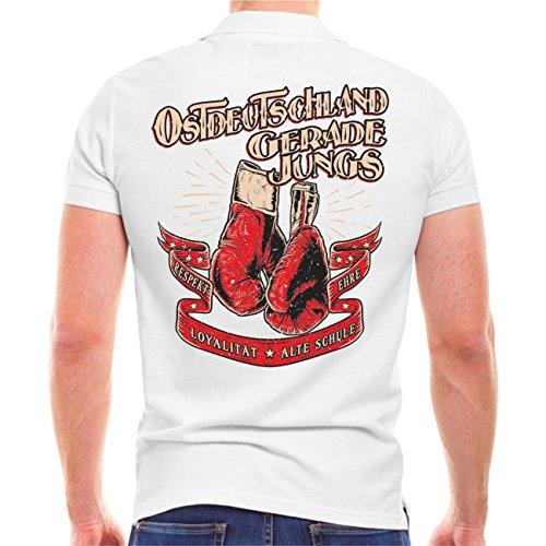 Männer und Herren POLO Shirt Ostdeutschland Gerade Jungs (mit Rückendruck) Weiß