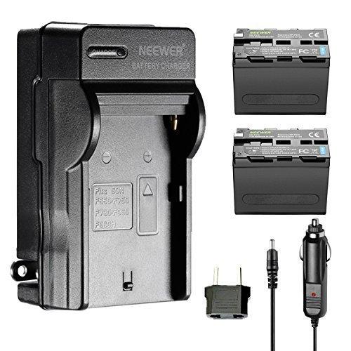 Galleria fotografica Neewer 2 Batterie a Litio di Ricambio 6600mAh per Sony NP-F970 & AC Caricabatterie da Muro, Caricatore da Auto e Adattatore UE per Luci LED o Monitor Neewer CN160 NW759 74K 760 FW759 74K 760 ecc.