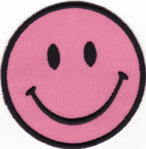 Smiley Pink Face Patch 7CM Dia(2-3/4 Dia) by Klicnow