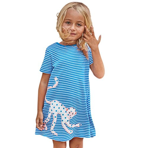 Beikoard Niña Vestido Liquidación, Vestido de Verano niña Cartoon Bird Bordado Ropa Vestido Vestido de Traje a Rayas (110cm/4T, Azul)