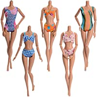 Asiv 5 Sets Handmade Summer Swimsuits, Beach Bikini, Bathing Clothes for Barbie Doll, Random Style