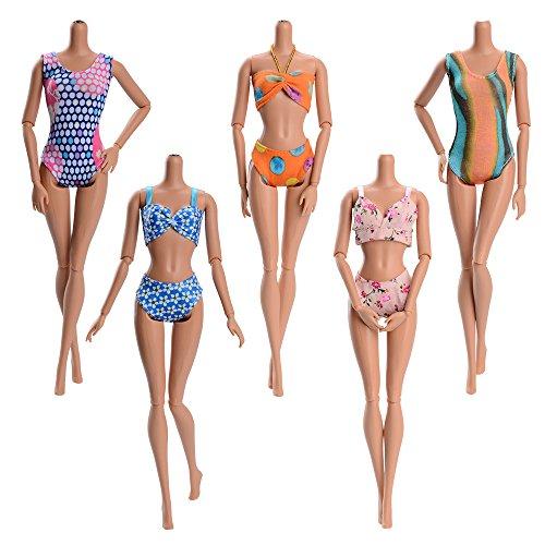 Asiv 5 Sets Mode Badeanzüge, Strand Bikini, Schwimmen Kleidung für Barbie Puppen Dolls - Weihnachten Geschenk