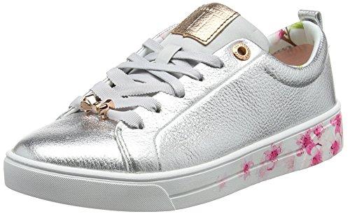 Ted Baker Damen Kelleip Sneaker, Silber (Silver/Blossom), 39 EU (Chukka Damen Klassische)
