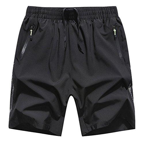 Cihui Herren Sport Shorts Mit Taschen Reißverschluss Schnell Trocken Atmungsaktiv Fußballshorts Kurzehose Schwarz L