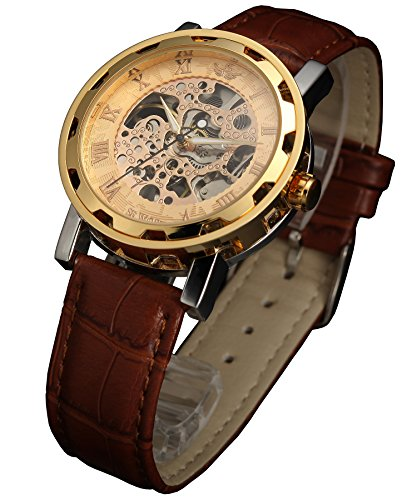 SEWOR Mens Hollow Skeleton Carving Mechanical Hand Wind Wrist Watch (Gold)