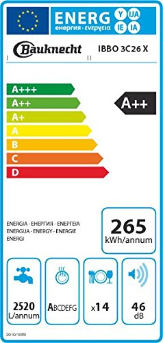 Bauknecht IBBO 3C26 X Geschirrspüler teilintegrierbar, A++, 60 cm, 265 kWh/Jahr, 14 MGD, Extra Trocknen, Option Multizone