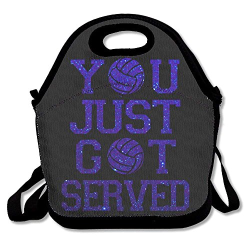 CrownLiny You Just Got Servedd Blue Volleyball Lunch Bag Tote Handbag Lunchbox for School Work Outdoor
