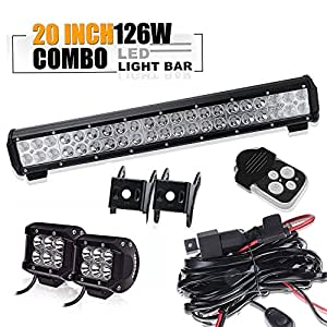 20 In Led Light Bar W 2pcs Spot Pods Cubes Switch Harness