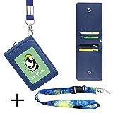 LEUYUAN Porta-tarjeta de DNI Colgantes de Tarjetas de Identificación y Tarjeta de Universidad, Tarjetero para Llevar un DNI y 4 tarjetas con Cuerda (Azul, 1 cordon)