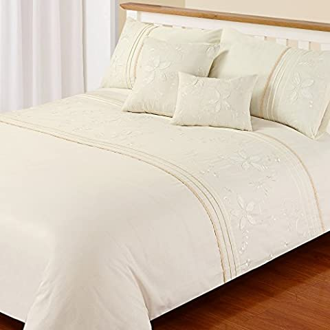 Just Contempo Embroidered Duvet Cover Set, King, Cream