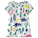 JERFER Mädchen Vögel AST Drucken Prinzessin Streifen T-Shirt Kleid (110, Blau)