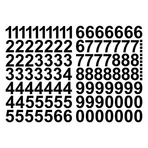 Zahlen Aufkleber 4cm in schwarz glänzend - 101 HOCHWERTIGE KLEBEZAHLEN - selbstklebende Ziffern und Nummern 0-9 - Wasser und wetterfest ideal für den Außenbereich ()