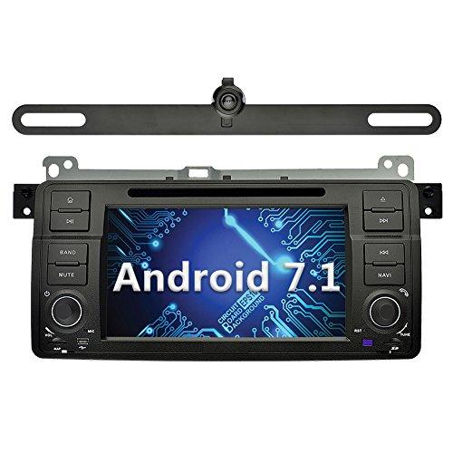 YINUO 7 Pulgadas 1 Din Android 7.1.1 Nougat 2GB RAM Pantalla Táctil GPS Navegador Reproductor de DVD Radio Para BMW 3 Series E46 M3 Soporte Bluetooth/Control Del Volante/1080p Con Cámara Revés