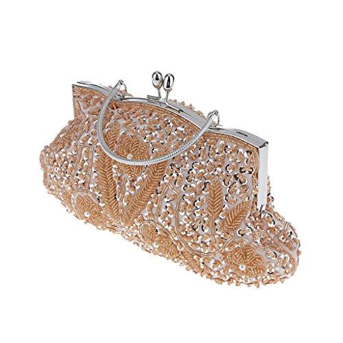 Generic Donne Nuziale Matrimonio Pochette da Giorno Perline Borsa Portafoglio Borsetta per Prom Cocktail Partito Champagne