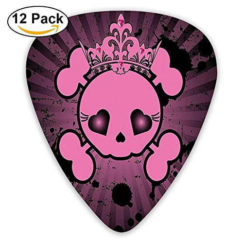 Cute Skull Illustration With Crown Dark Grunge Style Teen Spooky Halloween Guitar Picks 12/Pack Set (Halloween Sound Spooky Box)