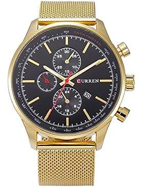 XLORDX Curren Classic Herren Damen Unisex-Armbanduhr Datum Analog Quarz Gold Edelstahl Minimalism Uhr Schwarz