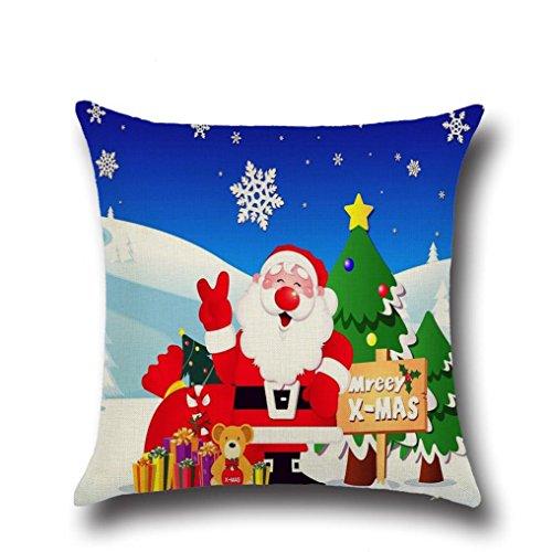 Zolimx Weihnachten Quadrat Wurf Flachs Kissen Kasten Dekoratives (Kugel Pailletten Ohrringe)