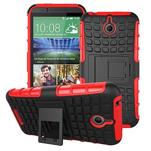 HTC Desire 510 Hülle, SsHhUu Premium Rugged Stoßdämpfung & Staubabweisend Kompletter Schutz Hybrid-Koffer mit Ständer Telefon Kasten für HTC Desire 510 4.7 Zoll (Rot) 510 Htc Telefon-kästen