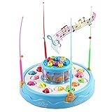deAO Juego de Pesca Electrónico Rotatorio de Dos Niveles con Música y Luces - Incluye 4 Cañas y 26 Peces (Azul)