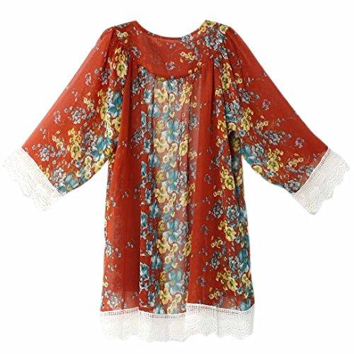 Clode® Femmes Chiffon Loose Shawl Kimono Cardigan Top Cover Up Shirt Blouse Rouge