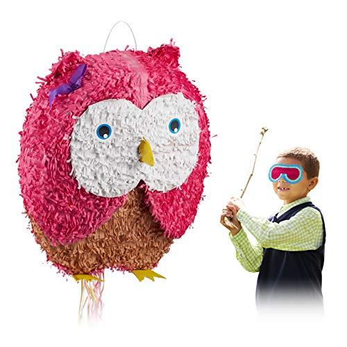 Relaxdays Pinata Eule, zum Aufhängen, für Kinder, Mädchen, Geburtstag, zum selbst Befüllen, aus Papier, Zugpinata, pink