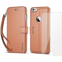 Funda iPhone 6S Plus, Funda iPhone 6 Plus, TUCCH Funda Piel con Gratis Protector Pantalla para iPhone 6S Plus/6 Plus, Soporte Plegable, Ranuras para Tarjetas, Estilo Folio, Cierre Magnético,