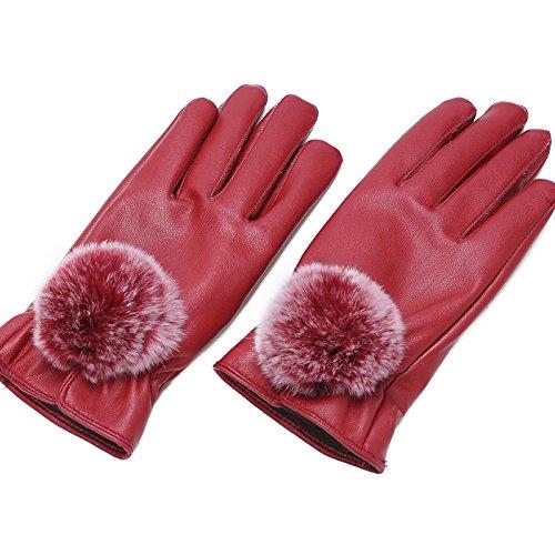 Écran Tactile Dames Gants Qualité PU Gants en Cuir Conduite en Plein Air Gants Chauds Hiver,Rouge,Tout Le Code