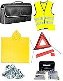 KFZ Sicherheitsset 8 tlg. 2 Erste Hilfe Set mit Verbandskasten Auto Notfallset 2 x Warnweste, 2 x Poncho 1 x Rettungsedecke, 1 x Warndreieck mit Zubehörtasche