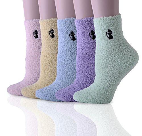 HapiLeap 5 Pairs Frauen Super Weiche Mikrofaser Fuzzy Slipper Socken Winter Warme Crew Hause Socken (Style A) (Crew Mikrofaser-crew-socken)