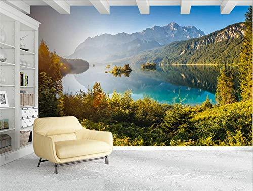MYLOOO Fototapeten 3D Effekt Deutschland Zugspitze Seelandschaft Tapete, Wand Dekoration