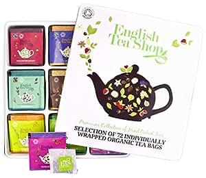 Teegeschenk in edler Metalldose – BIO-Tee-Kollektion mit 72 x original englischem Tee (9 verschiedene Sorten á 8 einzeln kuvertierte Teebeutel) – Geschenkidee