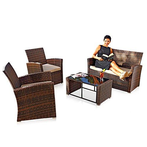 Melko Sitzgruppe PolyRattan 4 TLG. Braun, Gartenmöbel Lounge Sitzgarnitur Essgruppe, wetterfestes Polyrattan, inklusive 6 cm Sitzauflagen -