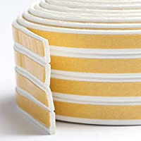 Bro Door Window Draught Excluder Strip Foam Seal Weather Stripping EPDM Tape Adhesive Rubber Soundproofing Weatherstrip, 9mm x 2mm x 3 Meters, 4 Seals Total 12M (I type, White)