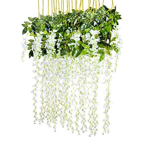 Attvn Kunstblumen, 12 Stück Glyzinien Künstliche Pflanze, Weiß Wisteria Künstlich gefälschte Blume, jeder Strang ist 110 cm lang, für Hochzeiten, zu Hause, Garten, Party