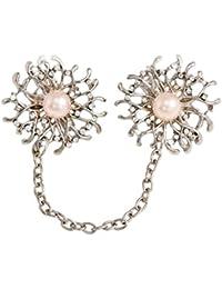 OULII Broches de Perlas Elegante Material de Aleación Decoraciones de Ropas para Mujeres Niñas (Girasol)
