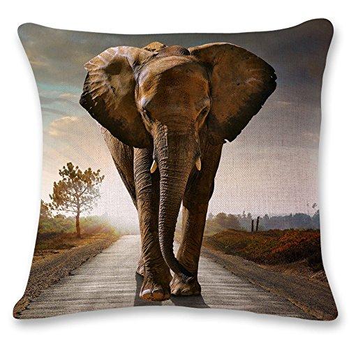 Decoración Almohada, Animales, elefantes, Algodón Lino tiro almohada Decoración del hogar Jardín...