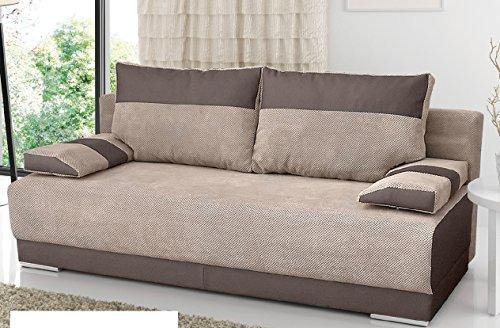 Couch mit Schlaffunktion und Bettkasten Sofa Schlafsofa Wohnzimmercouch Bettsofa Ausziehbar NISA (Braun)